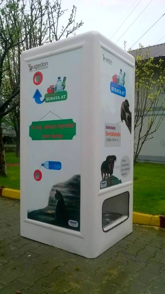 The recycle bin that feeds stray animals