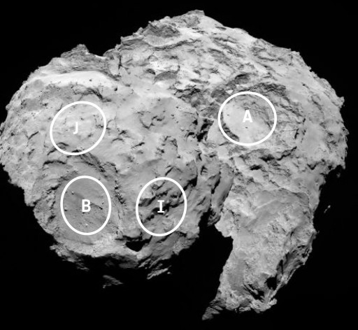 Four of the five potential landing sites for Philae. Image Credit: ESA/Rosetta/MPS for OSIRIS Team MPS/UPD/LAM/IAA/SSO/INTA/UPM