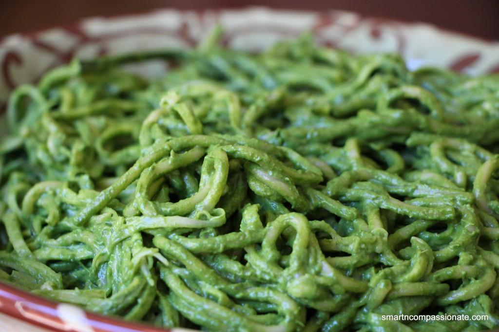 Spaghetti & Zucchini Noodles With Greens & Avocado Sauce